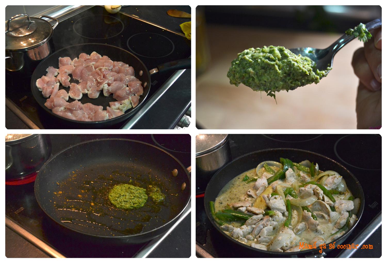 pollo al curry verde paso a paso