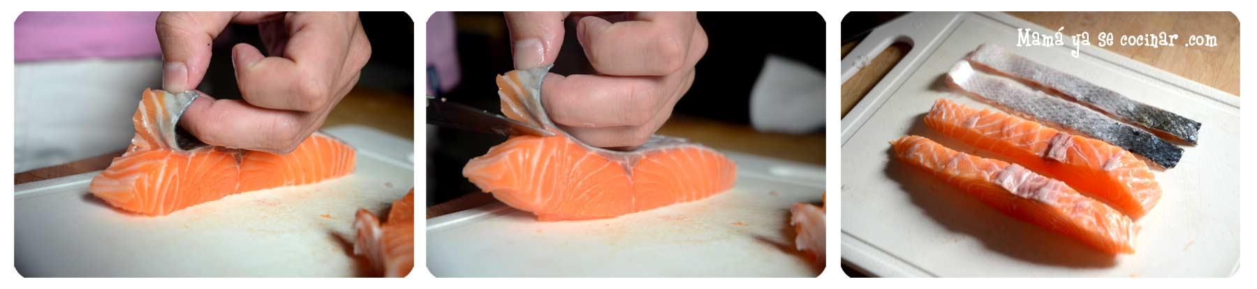 hacer sashimi de salmon