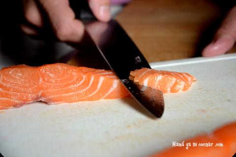 hacer sashimi de salmón